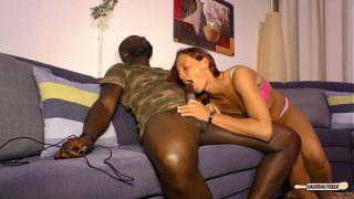 Black on white sex and cum on tits with mature German redhead