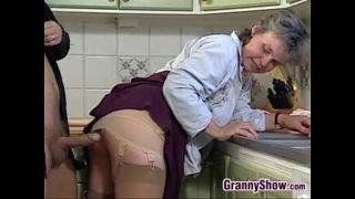 Grandma Sucking And Fucking In The Kitchen