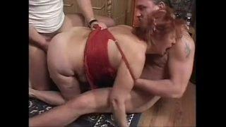 Granny BBW Ildiko Fucks Two Guys