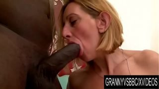 Granny Vs BBC – Older Blonde Lilou Ch Takes It up the Ass