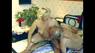 Hairy granny enjoys threesome xxx