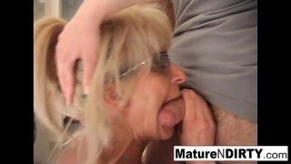 Mature blonde slut receives an anal fucking