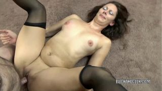 Mature brunette Trisha Delight takes some dick from a geek
