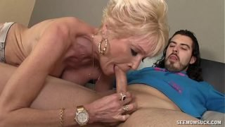 Mature Slut Sucks A Young Guy's Boner