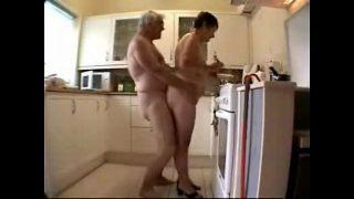 Old couple having fun. Amateur older