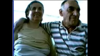 Old couple having fun on webcam