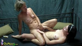 Old Nanny Two lesbians girl is enjoying with toy