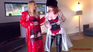 Red XXX and her girlfriend play together in lingerie