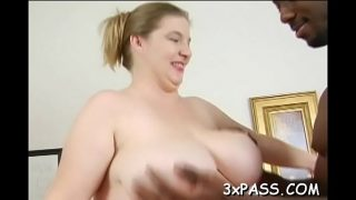 Slutty fat woman shows big body and fucks well with hot guy